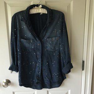 NWT Cloth & Stone Metallic Splatter Chambray Shirt